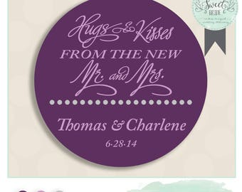 "Wedding favor sticker perfect on boxes & bags. Comes in Color of Choice. Size 2"" Round. HUGS AND KISSES.  Plum and Grey"