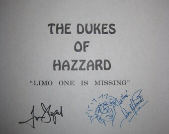 The Dukes of Hazzard Signed TV Script Screenplay Autographs Tom Wopat John Schneider Catherine Bach Denver Pyle signature classic tv show