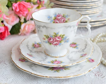 english tea cup floral tea cup set Royal Albert Tranquillity England tea cups trio english porcelain bone china teacup