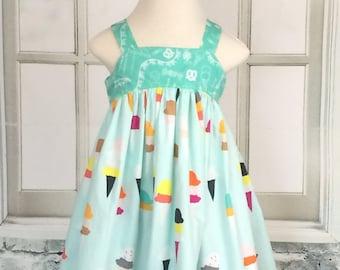 ice cream baby dress - infant dress -12/18 month dress -  baby summer dress - ready to ship dress - art gallery ice cream shop fabric - baby