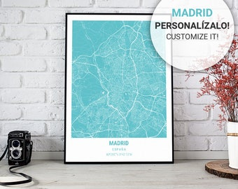 Turquoise Map Poster of Madrid (Spain) 30, 40 and 50. Custom text. Ideal sheet for decoration or as a gift.
