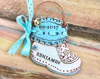 Personalized Baby Bootie / Newborn / Birth / Sock / Boy or Girl Shoe Keepsake Polymer Clay Ornament