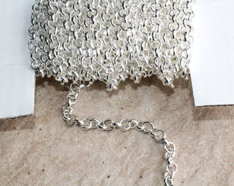 15ft Rolo Silver Chain- Cable chain- Necklace Chain- Bracelet Chain-2.5mm unsoldered