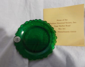 The Atwood House Pairpoint Glass Cup Plate Chatham MA Historical Society First Issue  Emerald Green Glass Plate Collector Plate 1982 #208