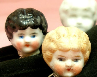 1800s Frozen Charlotte DOLL ring, Antique Victorian head on sterling silver, Blond doll only.