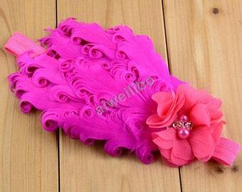 Flower girl headbands, curly feather headband, baby headband