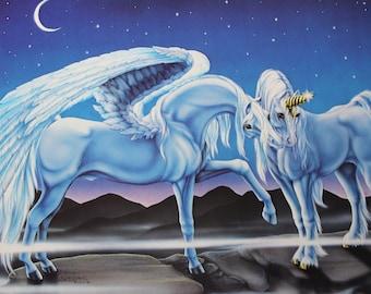 Vintage Sue Dawe Unicorn and Pegasus Wall Poster 1981