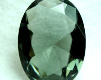 1 Pc Large Glass Jewel 22x30mm Oval Faceted Diamond Cut Unfoiled, Undrilled - Black Diamond BH23