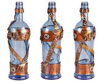 """11"""" Steampunk Oil Lamp Bottle - Sky Blue"""