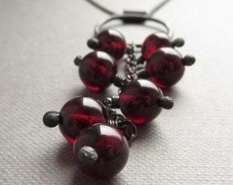 Natural Garnet Black Silver Necklace. Artisan Handmade