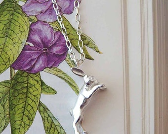 Hare Necklace, rabbit necklace, silver necklace