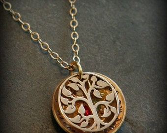 Gold Filled Family Tree Locket Hand Stamped Personalized Mommy Name Family Birthstone Necklace