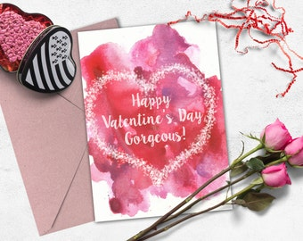 Love card printable, Valentine greeting card, Romantic watercolor card.