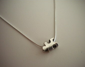 Autism Awareness Necklace Small Silver Puzzle Piece 1mm Snake Chain 16, 18 or 20 Inch Minimalist