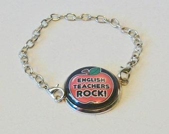 English Teachers Rock Red Apple Silver Chain Fashion Bracelet