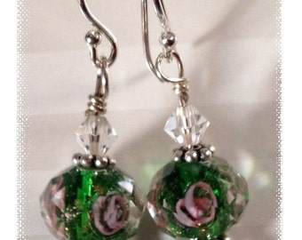 Faceted Flowers for Your Ears! Sterling Silver Earrings with Faceted Glass & Swarovski Crystals
