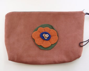 Untra Suede Clutch with Felted Floral Design iPad Case