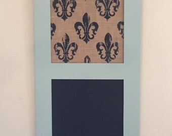 Small framed chalkboard with push pin board, blue