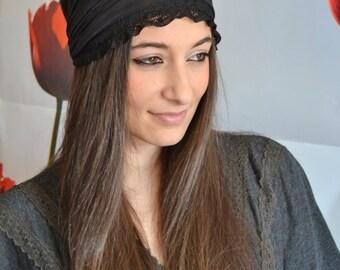 Black Headband Lace Turban Black Lace Bandana - Headband