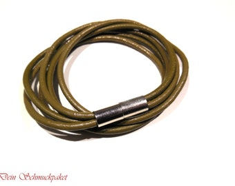 Wrapped leather strap ~ olive ~.