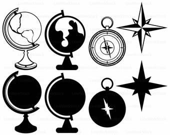 Globe svg/globe clipart/compass svg/globe silhouette/globe cricut/compass cut files/globe clip art/digital download/svg/designs