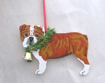 Hand-Painted ENGLISH BULLDOG Red/White Wood Christmas Ornament...Artist Original, Christmas Tree Ornament Decoration