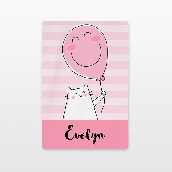 Balloon Cat Personalized Baby Blanket Custom Name Baby Girl Throw Plush Minky Soft Fleece Kids New Baby Gift Idea Cute Unique Pastel Pink