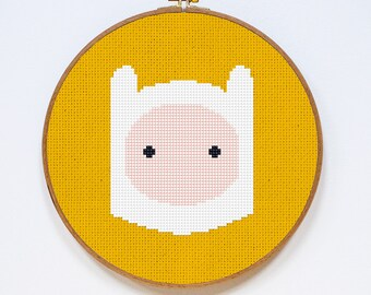 Finn, Adventure Time Cross Stitch Pattern, Easy Cross Stitch Chart, PDF Format, Instant Download