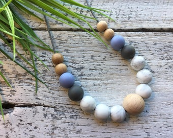 Handmade Silicone/Wood Necklace - Pastel Blue/Grey/Marble