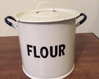 1956 white and navy blue enamel flour storage with lid