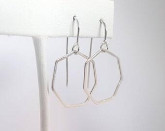 Geometric earrings, sterling silver earrings, dangle earrings, handmade, silver jewellery, gift, dainty earrings