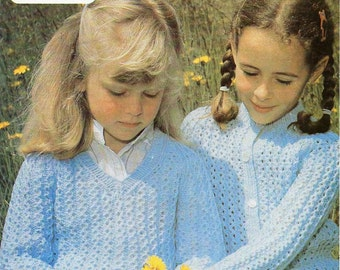 """childrens cardigan & sweater knitting pattern girls lacy jumper 22-30"""" DK light worsted 8 ply childrens knitting pattern pdf download"""
