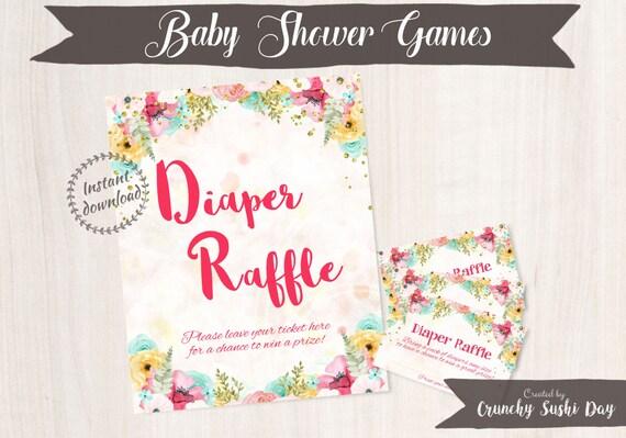 Printable Baby Shower Games, Diaper Raffle, Floral, Baby Shower, Party Printables, Baby Shower Decorations, Teal, Pink 001