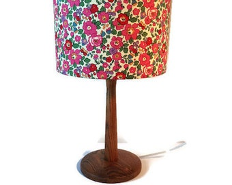 liberty fabric shade with new walnut stained table lamp