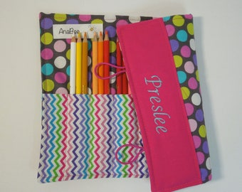Custom Pencil Roll - Chevron Diddly Dot, personalized Pencil case, Colored pencil case, pencil organizer, monogrammed colored pencil roll, 2
