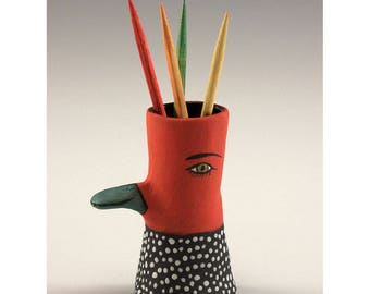 Edith - Ceramic Duck Billed Bird Toothpick Holding Bud Vase by Jenny Mendes