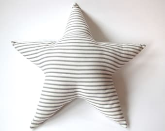Star Pillow - Grey and White Ticking Stripe - Nursery Decor