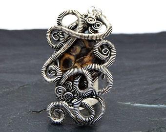 Steampunk Silver Pendant, Wire Wrapped, Pendant Necklace, Jasper Pendant, Gemstone Pendant, Silver Plated, Jasper Necklace, Wire Jewelry