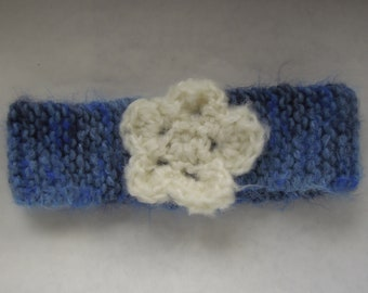 Fluffy Blue Floral Childs Headband