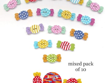 Sweets Candy Shaped Craft Buttons Wood 10 Two Hole Pack Brooch Making Sewing Knitting Card Embellishment Scrapbooking Gift Tags Decoration