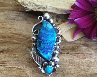 Bluebird Mine Azurite Malachite ring/ Artisan Handmade/ Sterling Silver/ With Sleeping Beauty Turquoise Wildflowers