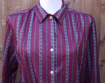 Burgundy Oversized Shirt with Paisley Stripes