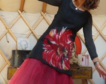Felted Merino poppy dress