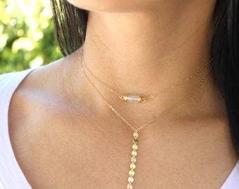 Gem Dainty Choker Necklace, Dainty Necklace, Layering Necklace, Gemstone Choker Necklace, The Silver Wren, Bridesmaid Gift