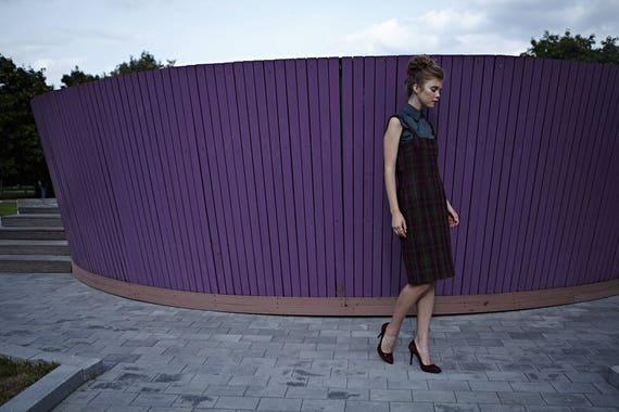 wool dress wiggle Handmade 1950s dress work wool Wool dress Wool dress dress office Office Plaid dress Handmade Burgundy dress dress aBw7xx