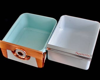 White Enamel Refrigerator Bin Vegetable Crisper, or Copper Tone / Turquoise Fridge Drawer, Mid Century Kitchen Appliances
