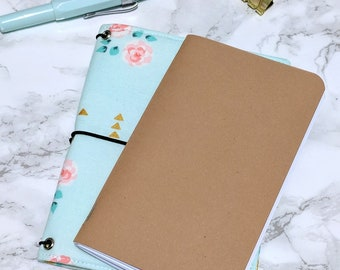 Floral Field Notes Cover // Pocket Passport Bullet Journal Bujo Cover - Fabric Planner Cover - Fabricdori - Notebook Organizer