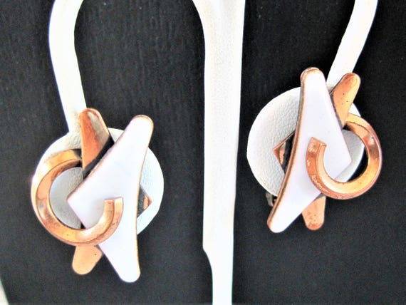 Matisse White Earrrings, Signed Enamel on Copper, Mid Century Clip Ons