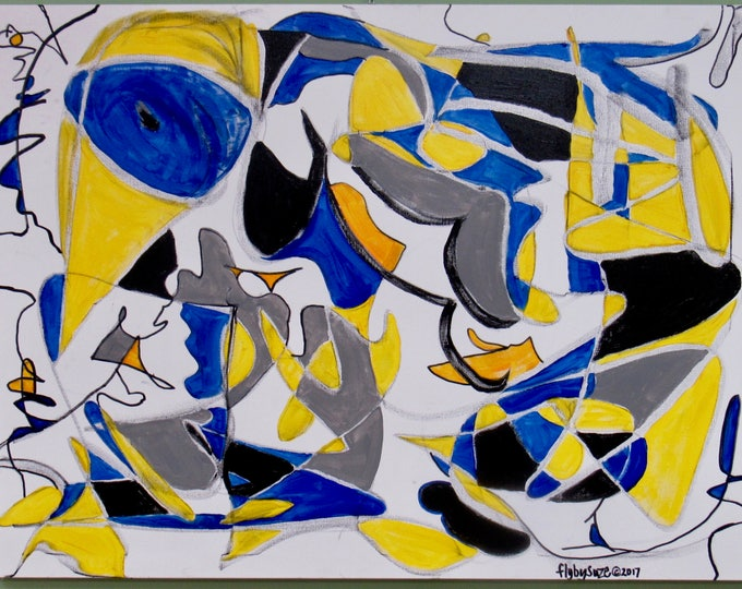 """Large Abstract Painting """"Birds Eye View"""""""