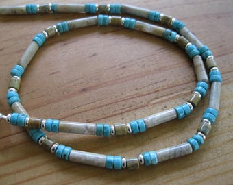 Tan Jasper, Turquoise, Silver Necklace, Necklace For Men, Turquoise Necklace, Mens Tribal Necklace, Native American Necklace